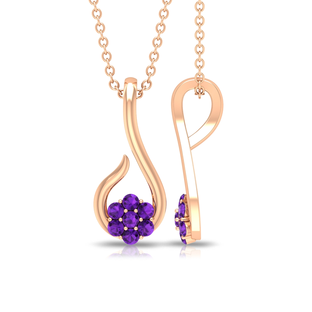 Dainty Amethyst Floral Necklace For Women