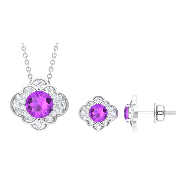 Cluster Jewelry Set with 2 CT Created Kunzite and Moissanite