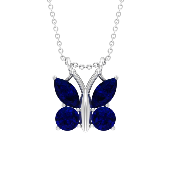2.75 CT Butterfly Pendant Necklace for Women with Blue Sapphire