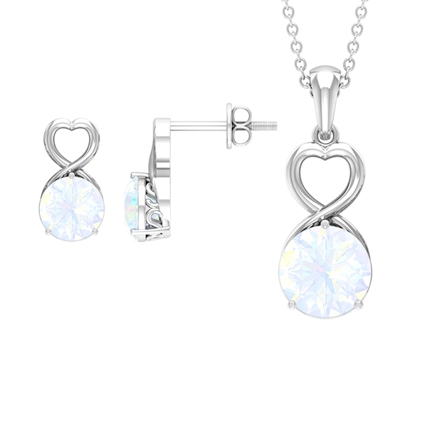 3 CT Created Rainbow Moonstone Solitaire Gold Heart Shape Jewelry set
