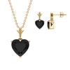 3.50 CT Minimal Heart Shape Black Onyx Solitaire Pendant and Earring Set