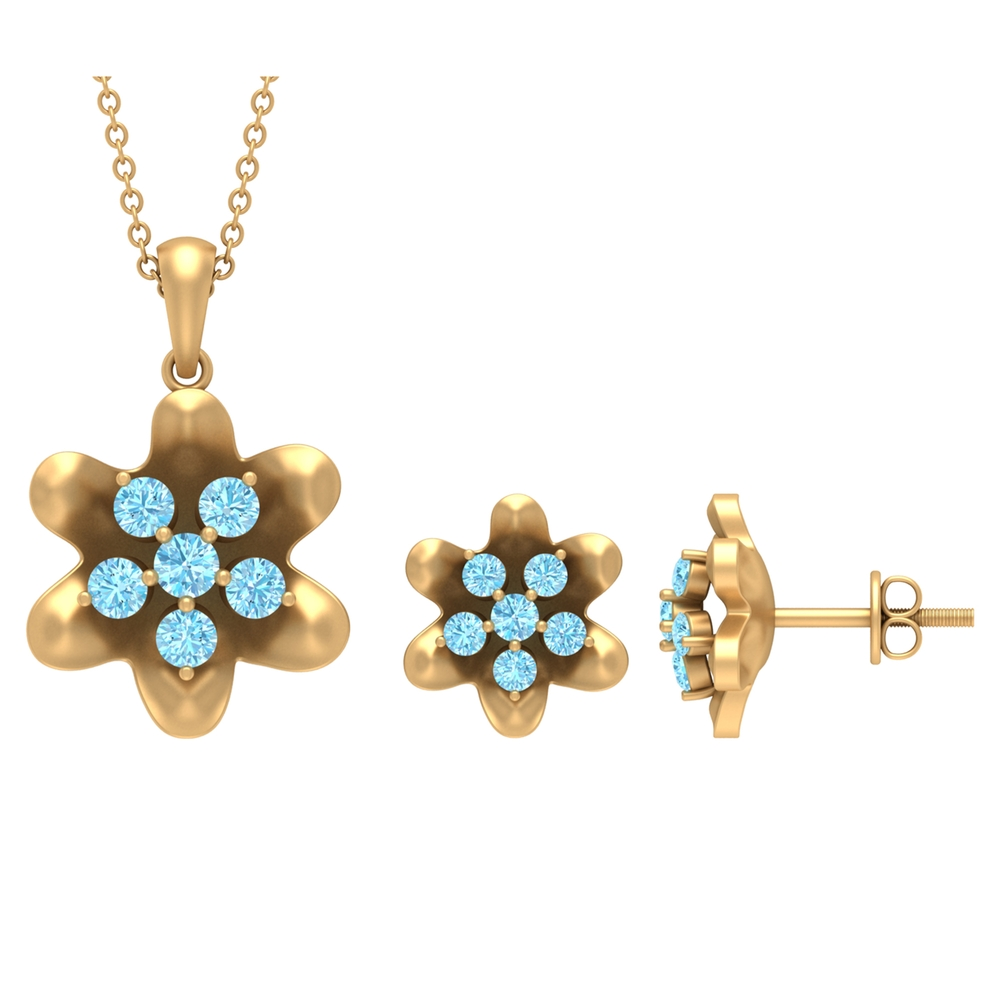 1 CT Aquamarine Simple Flower Earring and Necklace Set for Women