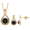 1.50 CT Round Cut Black Spinel Solitaire Infinity Jewelry Set