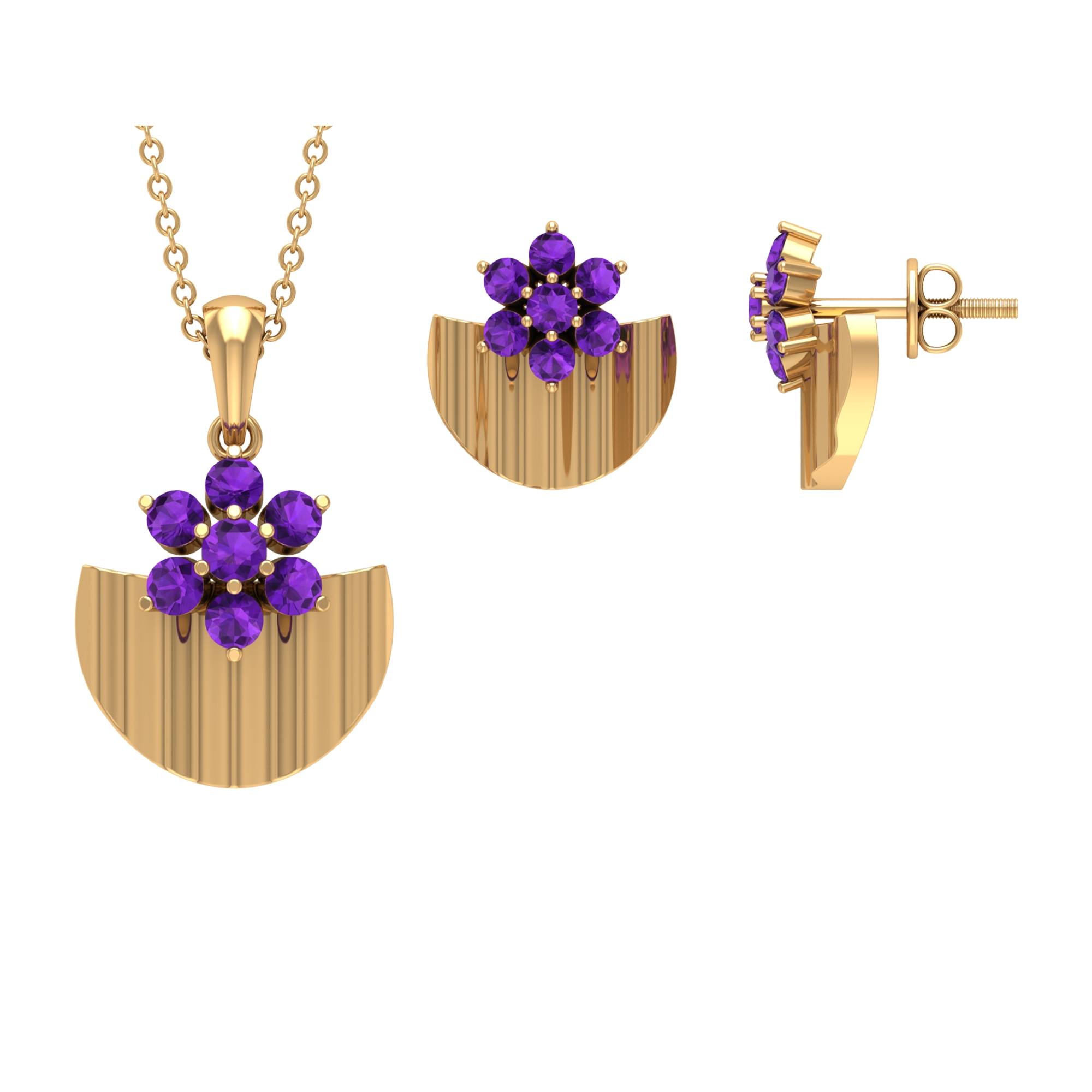 February Birthstone 1 CT Amethyst Flower and Half Disc Engraved Jewelry Set for Women