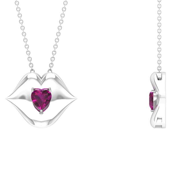 1/2 CT Heart Shape Rhodolite with Gold Lips Pendant Necklace
