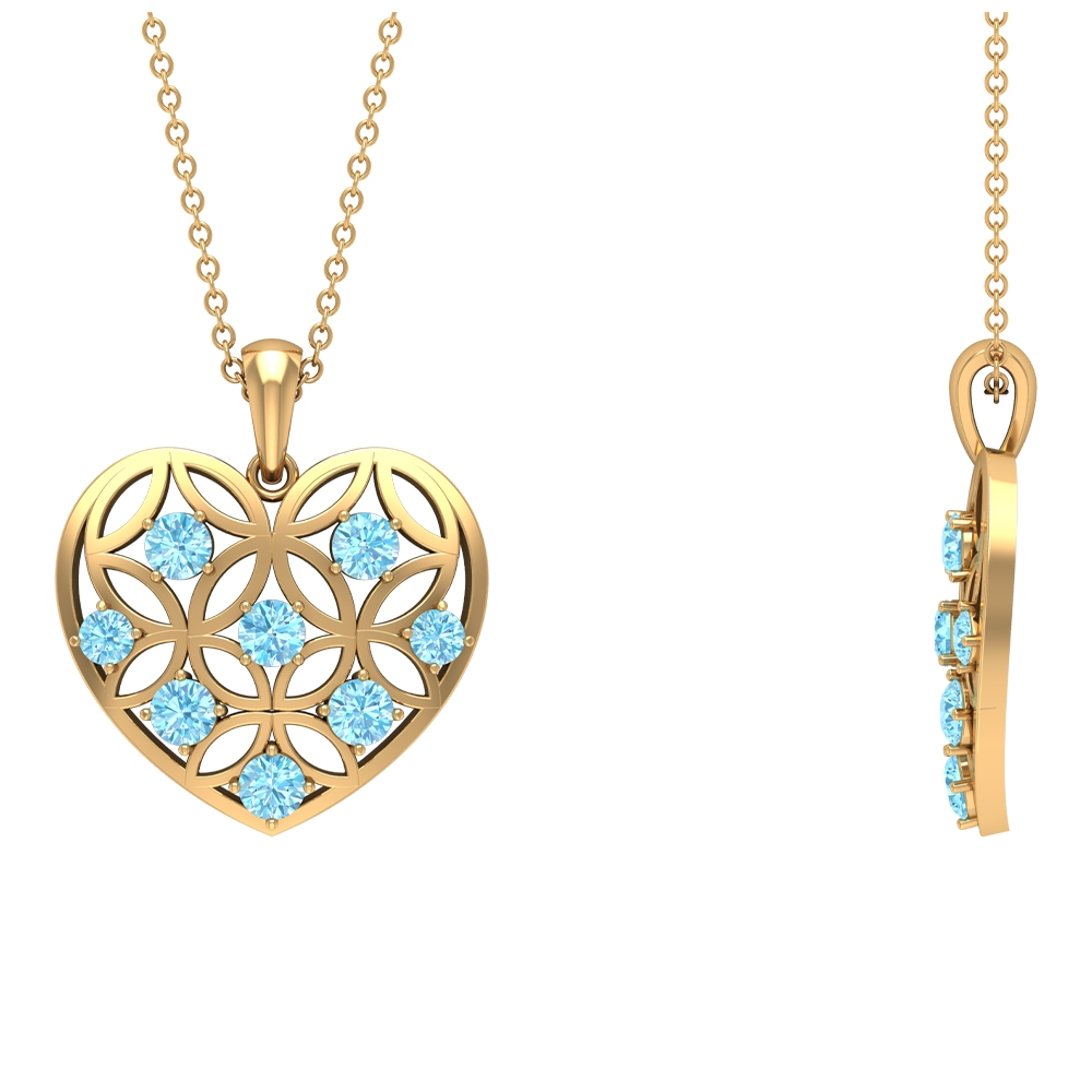 3/4 CT Aquamarine and Gold Cut Out Heart Pendant Necklace
