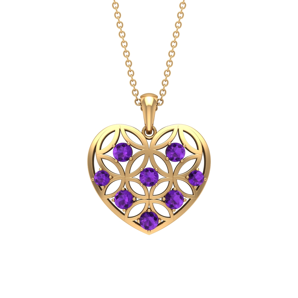 3/4 CT Amethyst and Gold Cut Out Heart Pendant Necklace