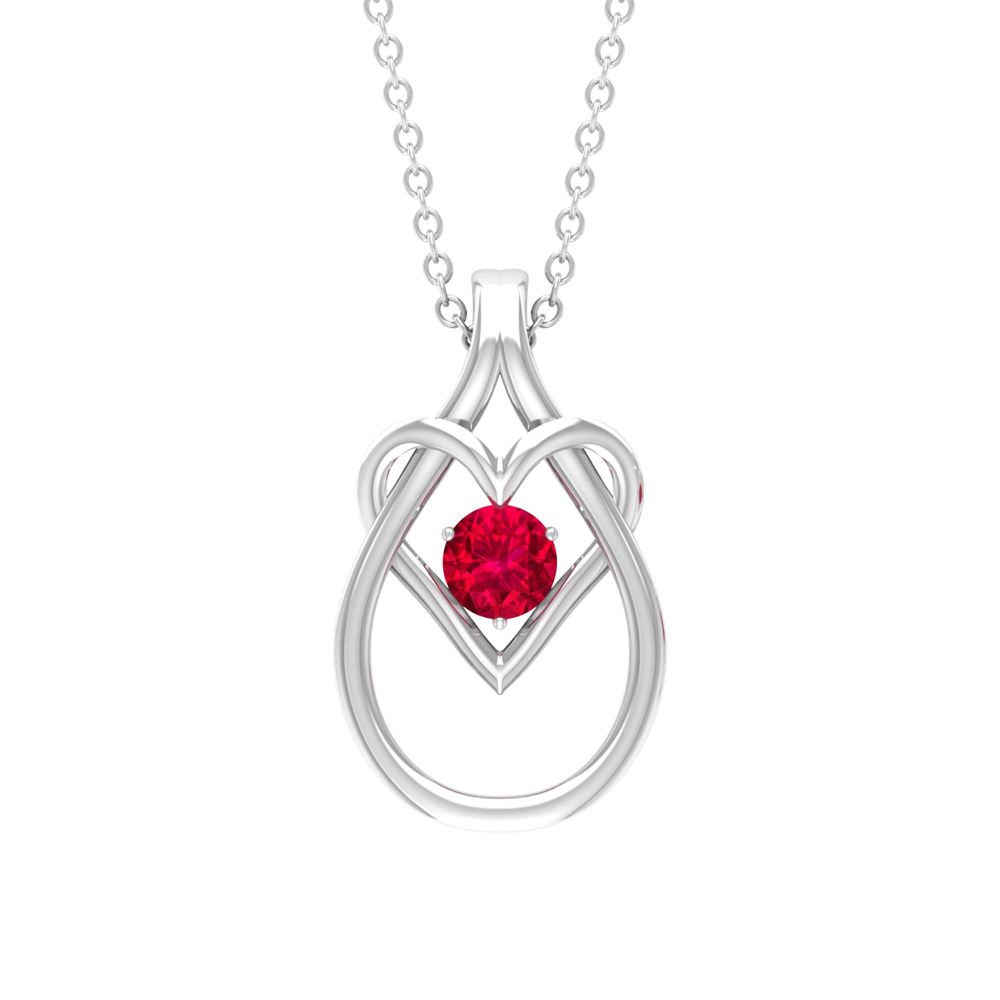 1/4 CT Ruby and Gold Teardrop Heart Pendant in Prong Setting