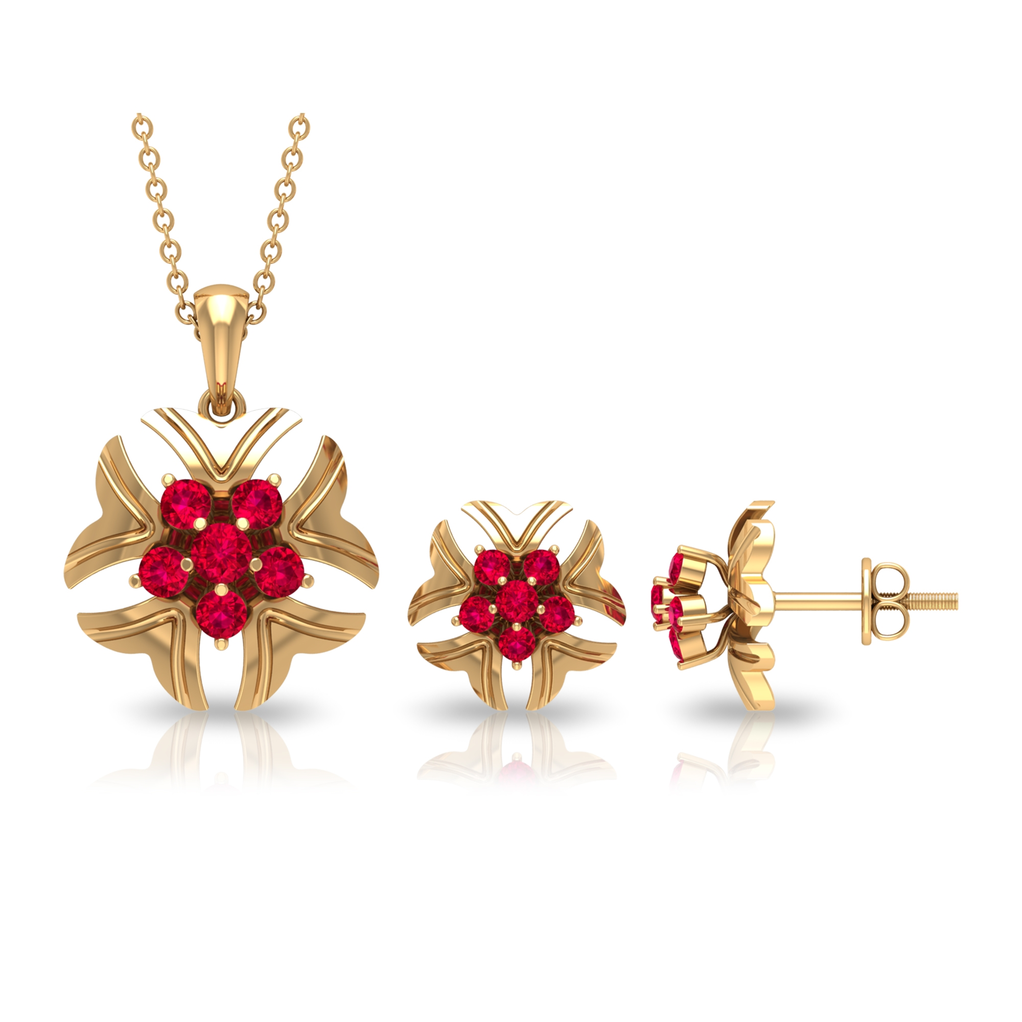 1 CT Ruby Cluster and Gold Engraved Flower Jewelry Set
