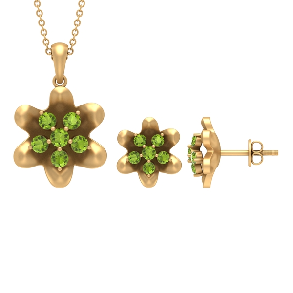 1.25 CT Peridot and Simple Flower Jewelry Set for Women
