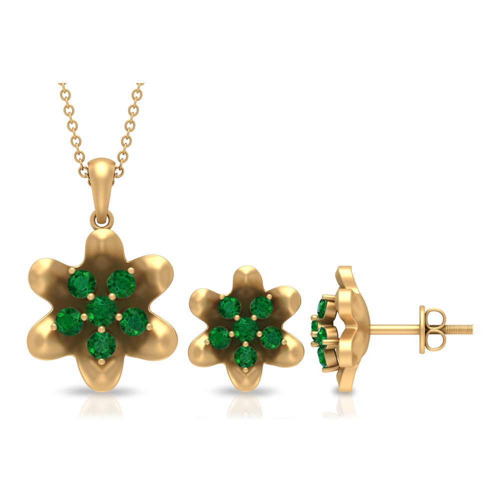 1 CT Simple Emerald Floral Earrings and Pendant Set