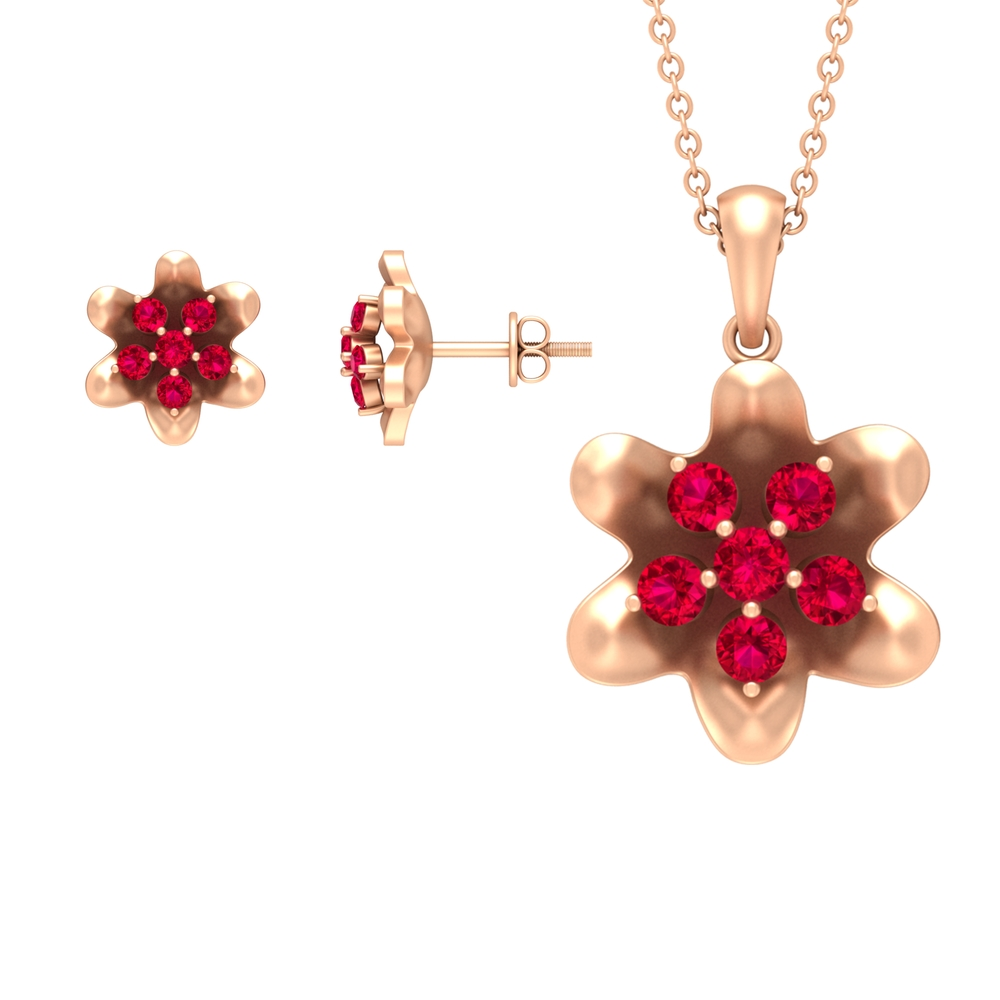 1.25 CT Ruby and Gold Flower Necklace and Earring Set for Women