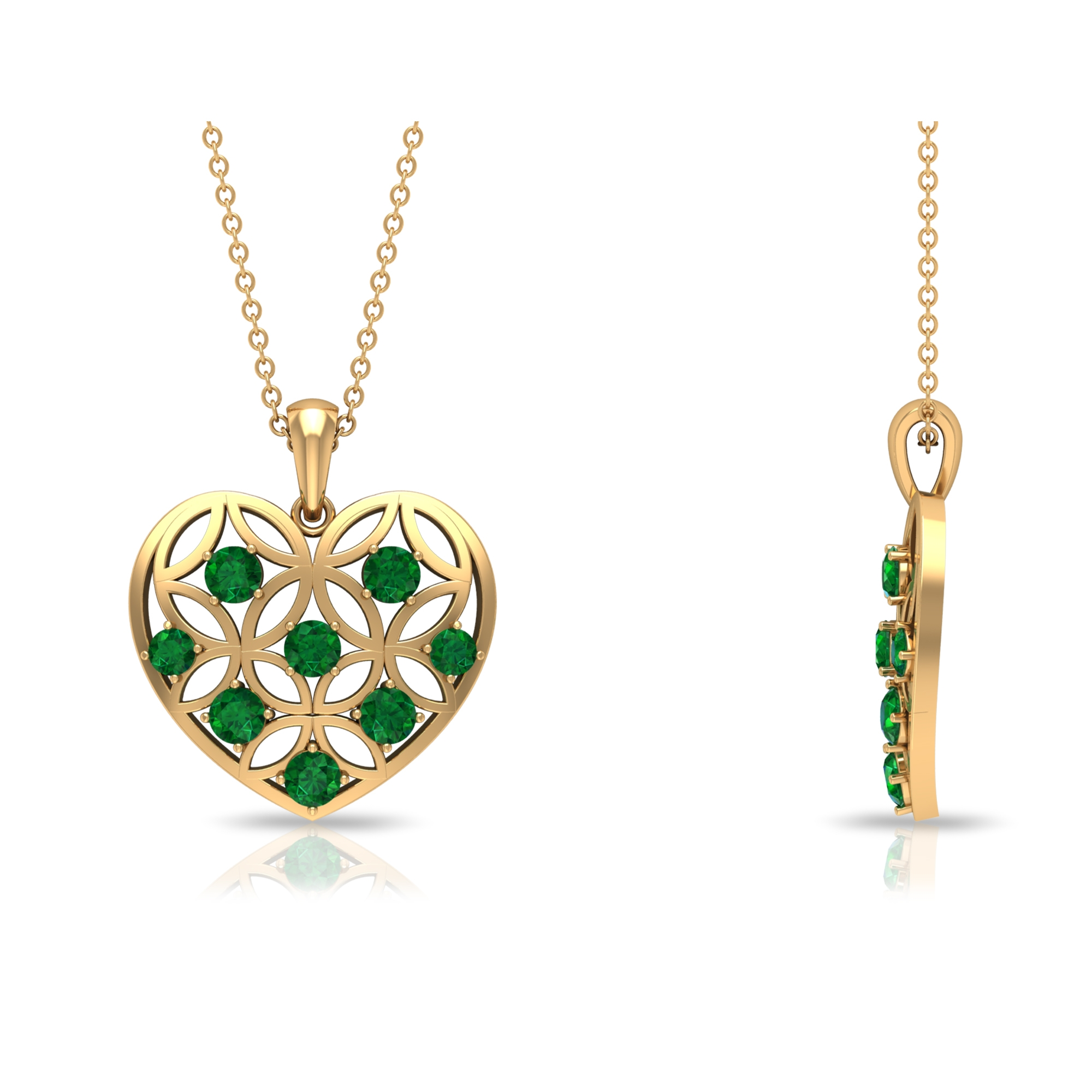 3/4 CT Emerald and Gold Cut Out Heart Pendant Necklace