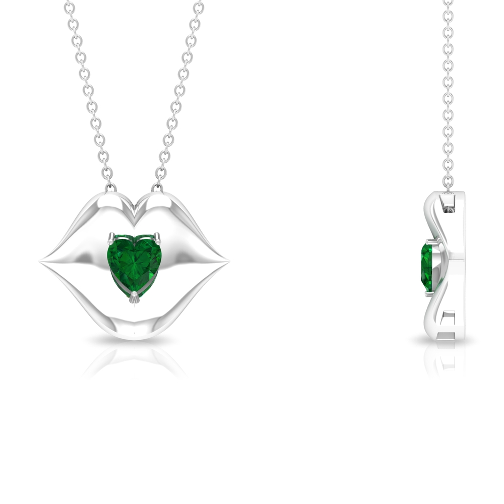 1/2 CT Heart Shape Emerald with Gold Lips Pendant Necklace