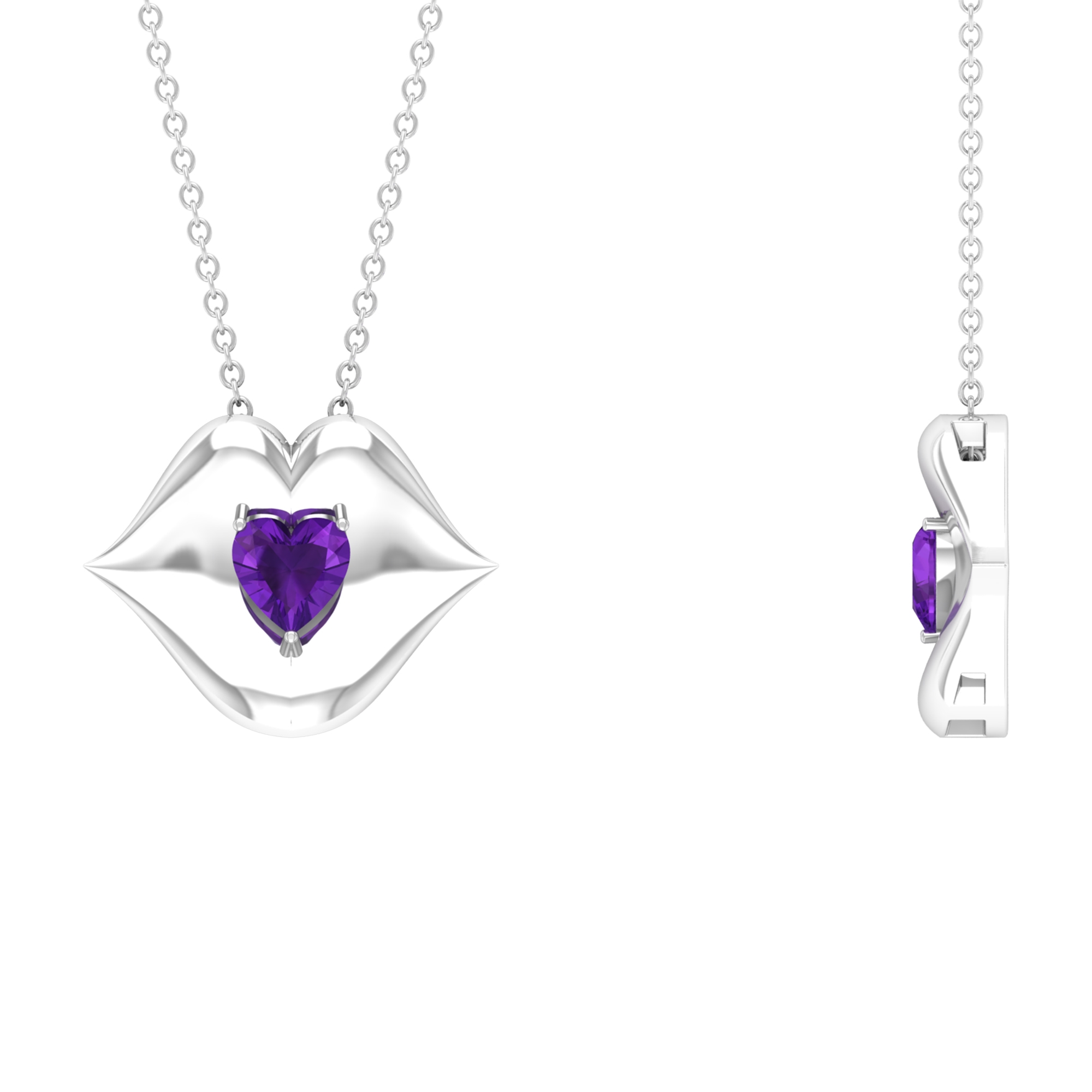 1/2 CT Heart Shape Amethyst with Gold Lips Pendant Necklace