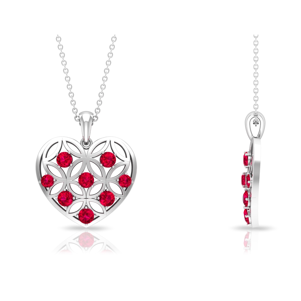 1 CT Ruby and Gold Cut Out Heart Pendant Necklace