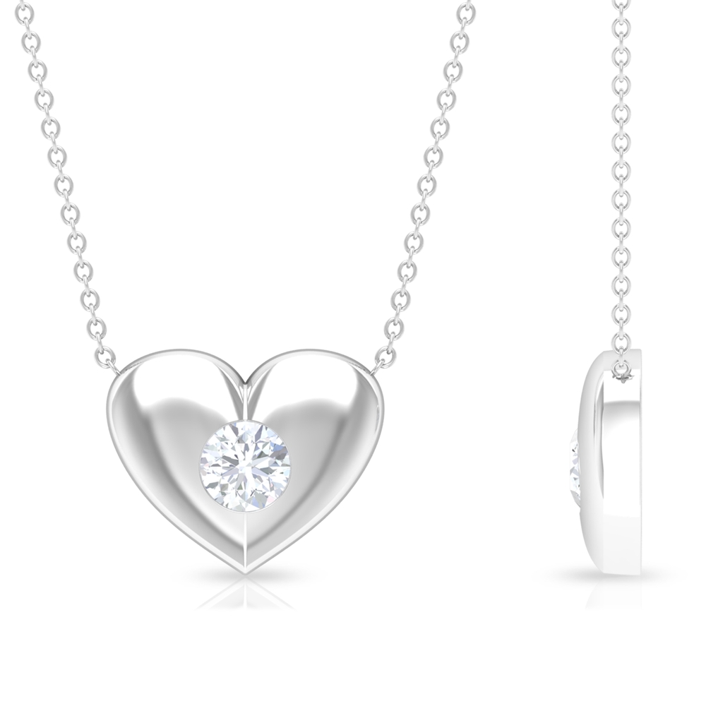 5 MM Gypsy Set Diamond and Gold Heart Necklace for Women