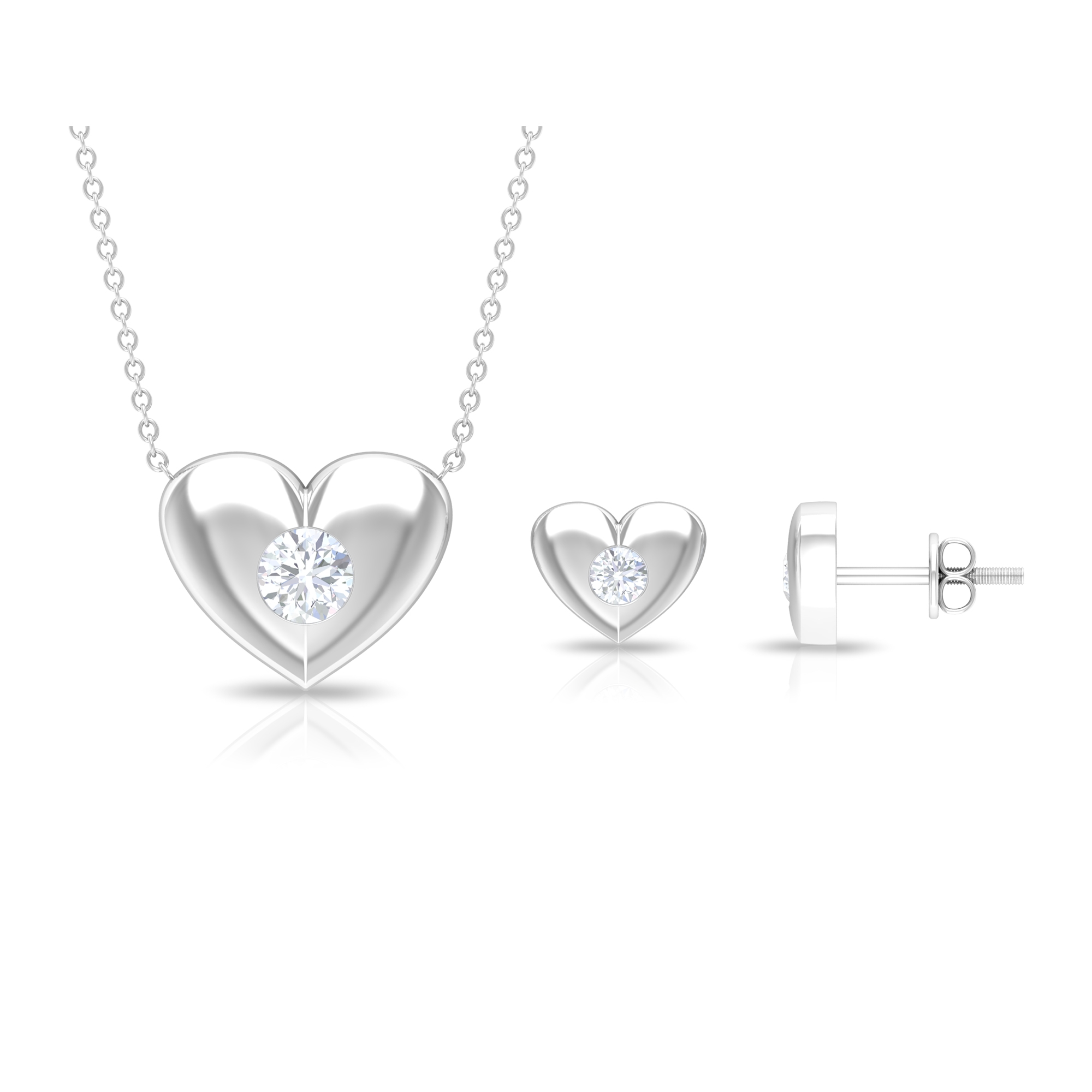 0.75 CT Gypsy Set Diamond and Gold Heart Jewelry Set for Women