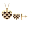 1 CT Garnet and Gold Cut Out Heart Jewelry Set