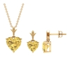 3.50 CT Minimal Heart Shape Citrine Solitaire Pendant and Earring Set