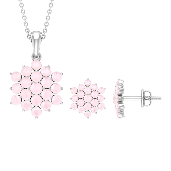2.50 CT Created Pink Onyx Cluster Jewelry Set