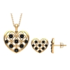 1.50 CT Black Onyx and Gold Cut Out Heart Jewelry Set