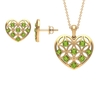 1.50 CT Peridot and Gold Cut Out Heart Jewelry Set