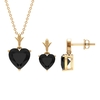 3.50 CT Minimal Heart Shape Black Spinel Solitaire Pendant and Earring Set