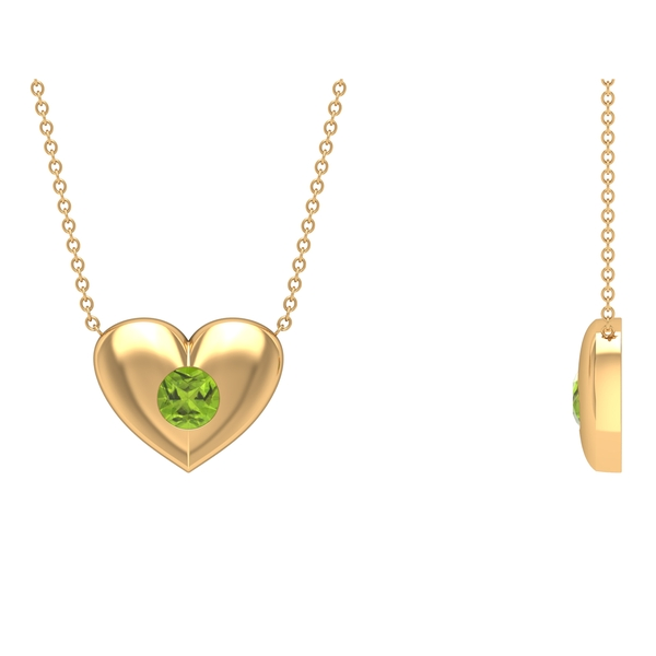 1/2 CT Peridot and Gold Heart Pendant Necklace