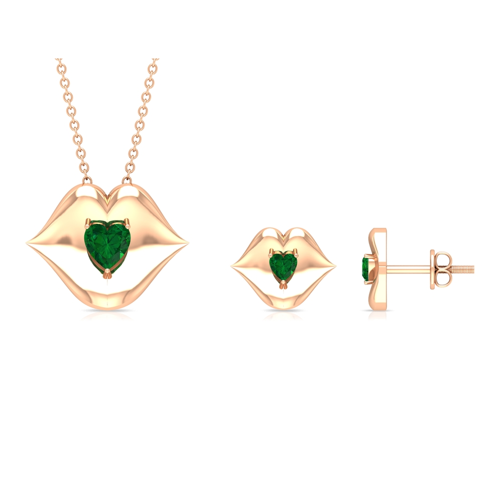 3/4 CT Prong Set Heart Shape Solitaire Emerald Cute Gold Jewelry Set
