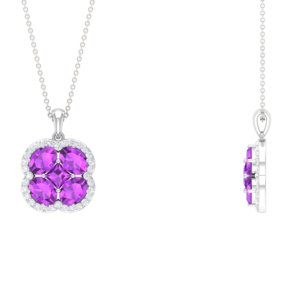 Cluster Halo Pendant Necklace with 4.75 CT Created Kunzite and Diamond