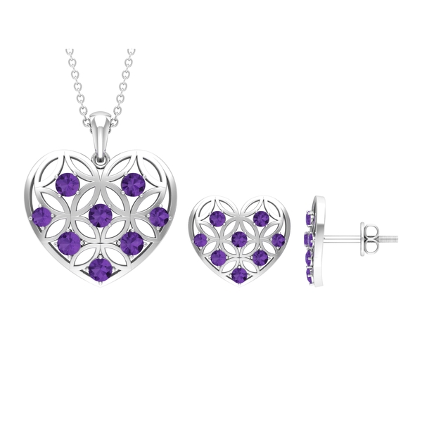 1.50 CT Created Lavender Amethyst and Gold Cut Out Heart Jewelry Set