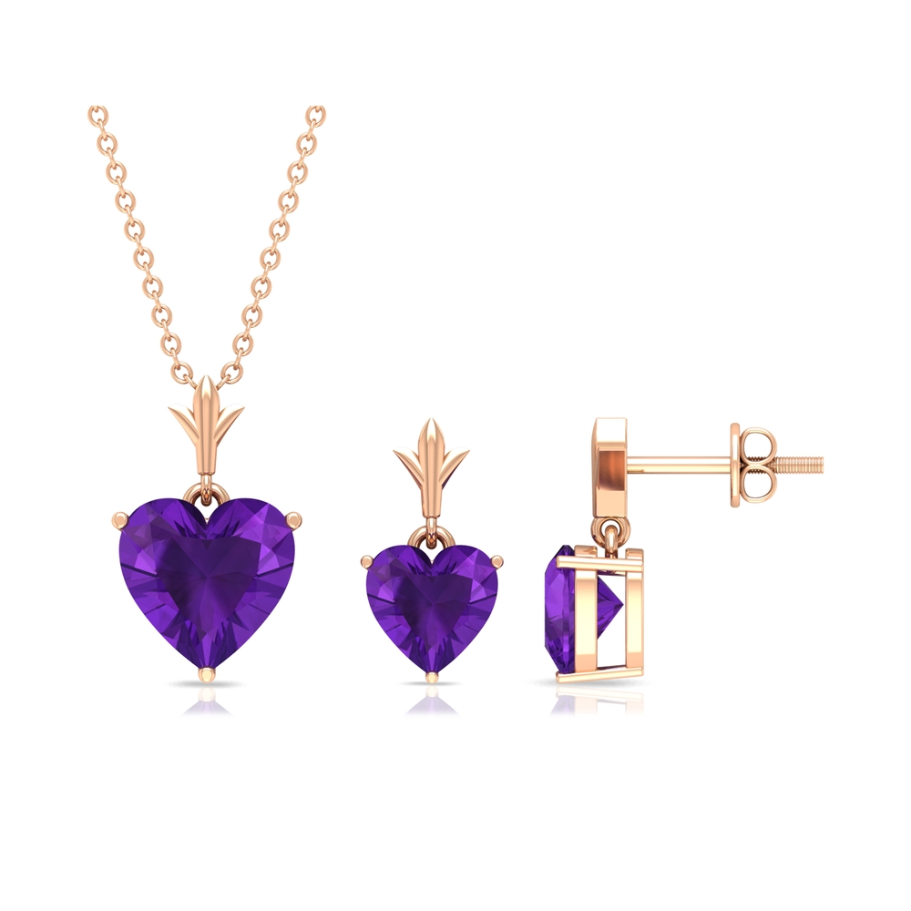 3.50 CT Minimal Heart Shape Amethyst Solitaire Pendant and Earring Set
