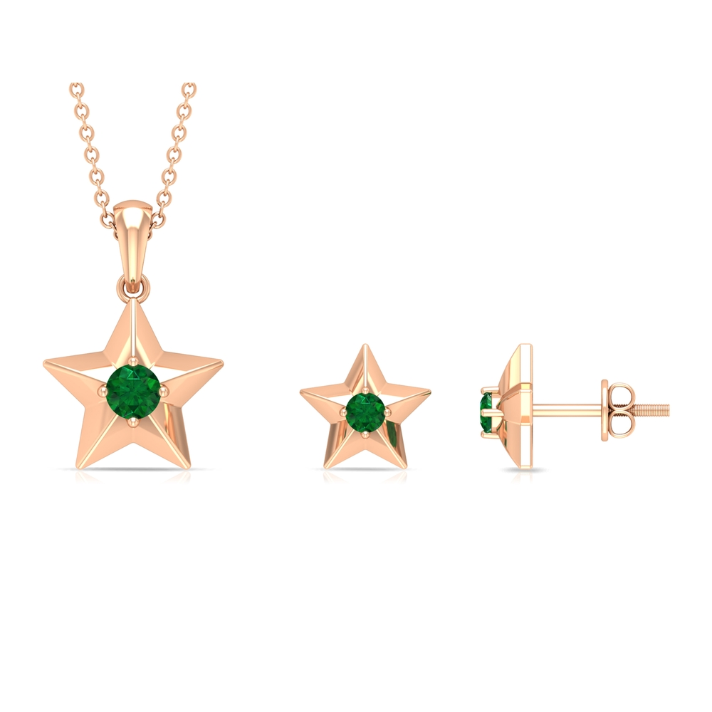 1/4 CT Emerald and Gold Star Stud Earrings for Women
