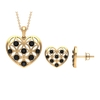 1 CT Black Spinel and Gold Cut Out Heart Jewelry Set