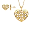 1 CT Citrine and Gold Cut Out Heart Jewelry Set