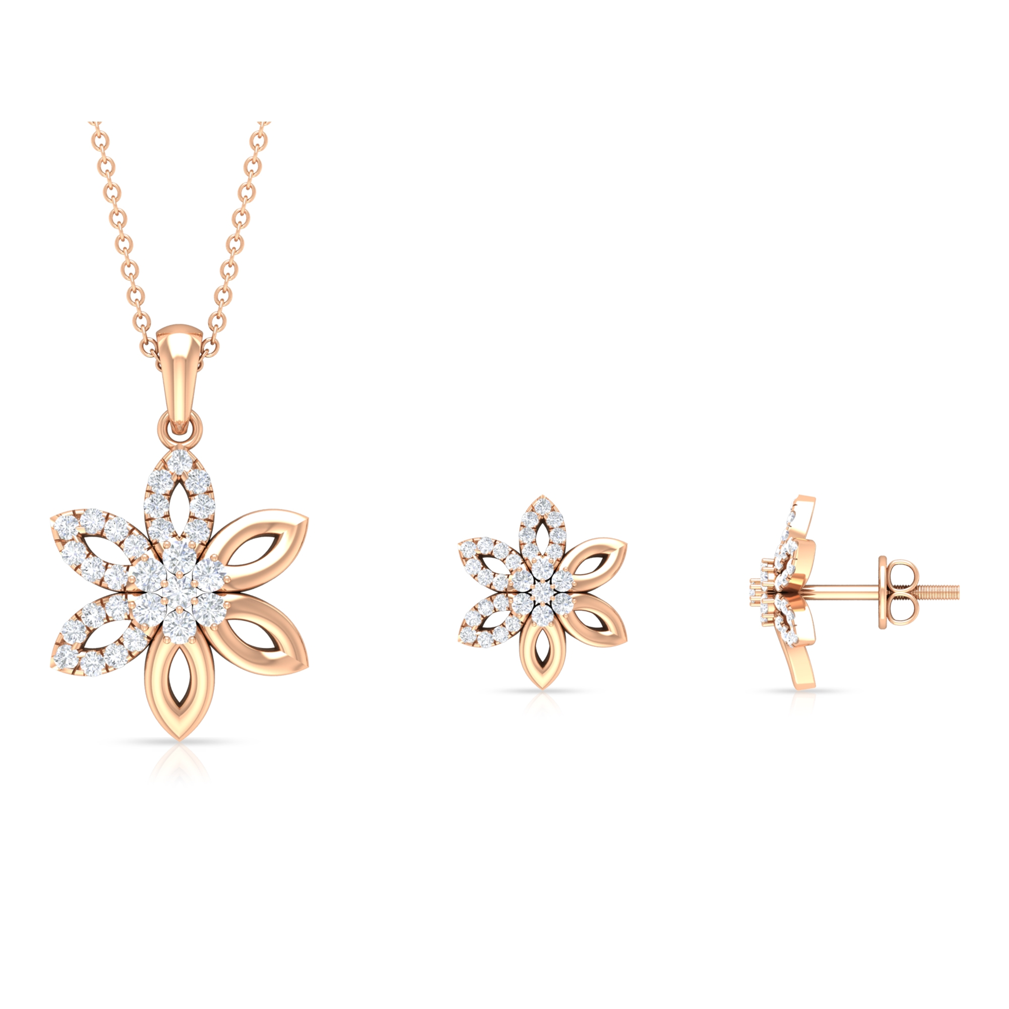 1 CT Diamond Floral Earring and Pendant Set for Women