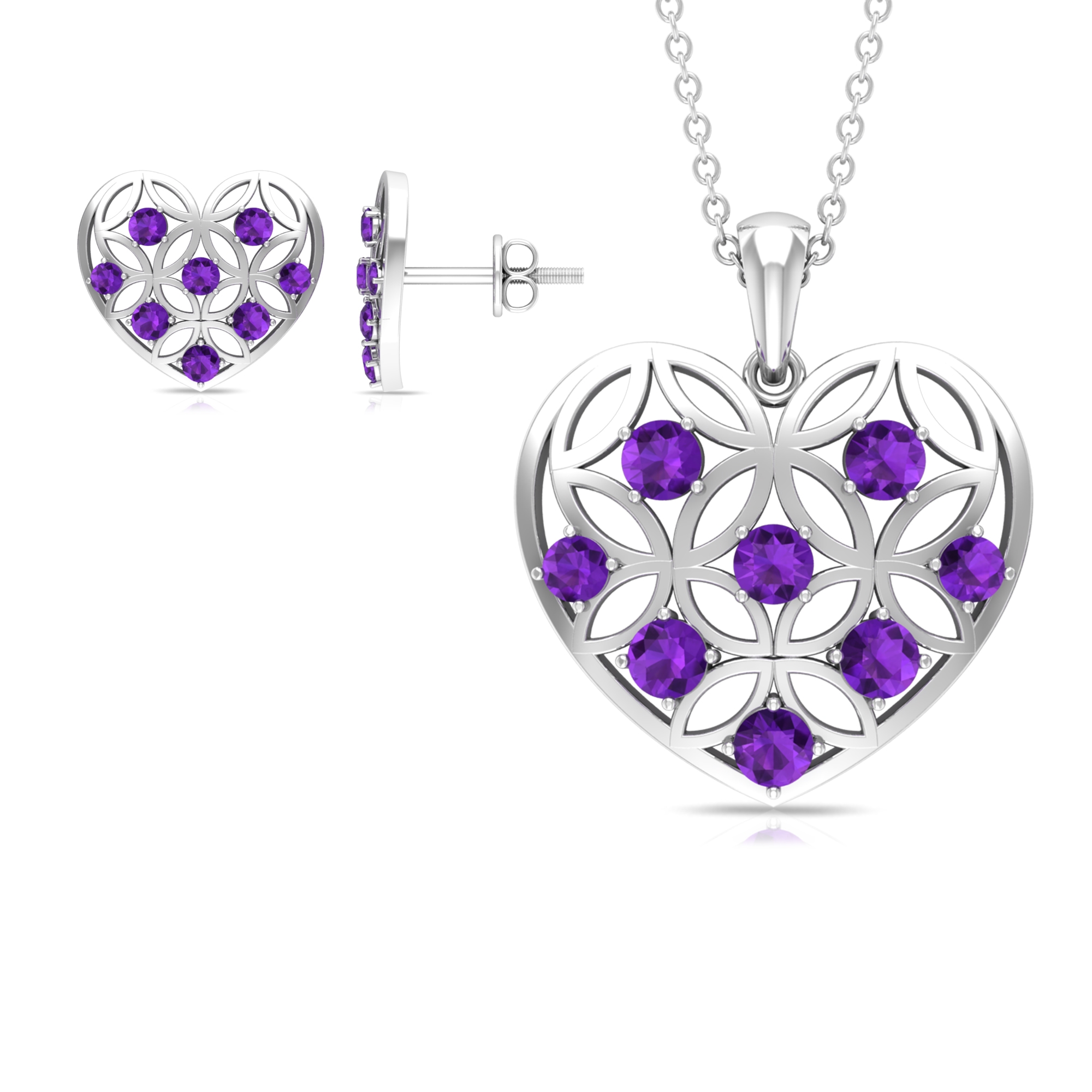 1 CT Amethyst and Gold Cut Out Heart Jewelry Set