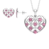 1.50 CT Pink Tourmaline and Gold Cut Out Heart Jewelry Set