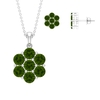 5.50 CT Green Tourmaline Floral Cluster Pendant Earring Set
