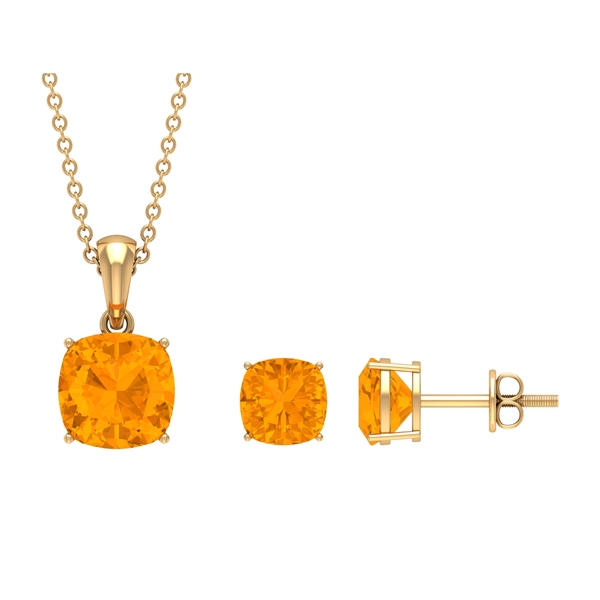 4 CT Cushion Cut Created Orange Sapphire Solitaire Pendant and Earring Set