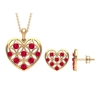 1.75 CT Ruby and Gold Cut Out Heart Jewelry Set