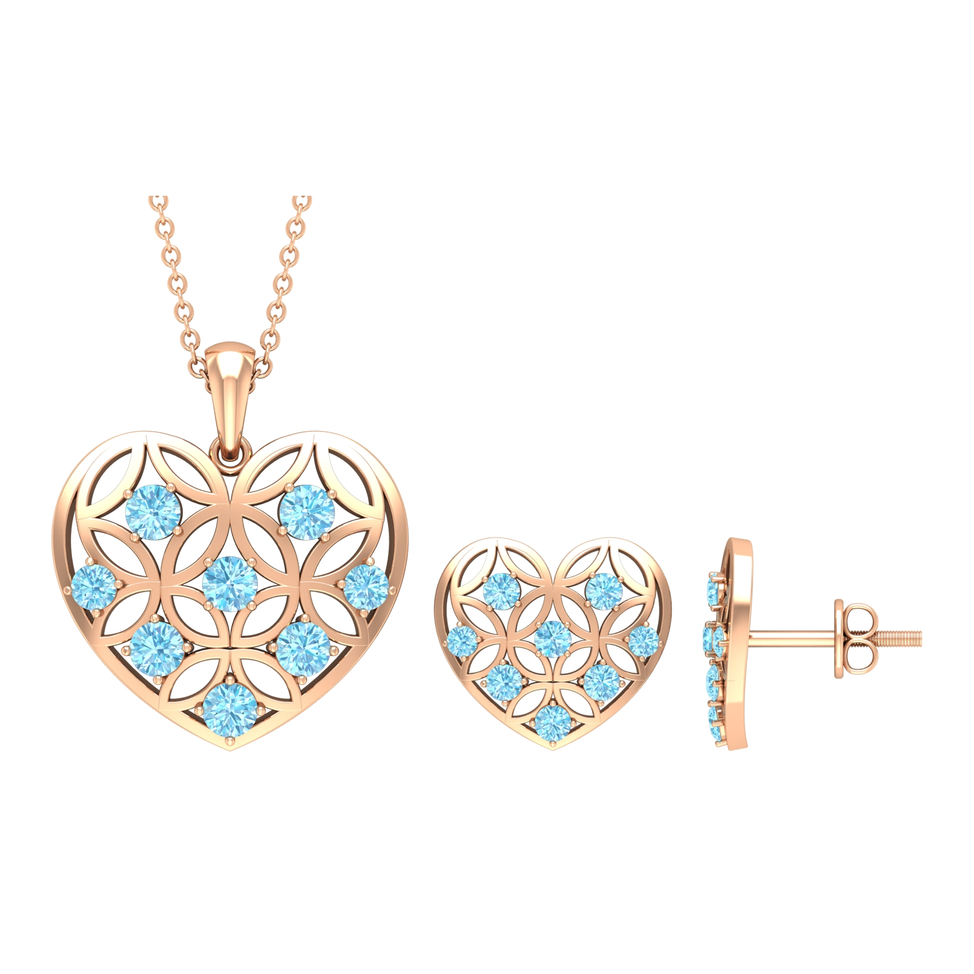 1 CT Aquamarine and Gold Cut Out Heart Jewelry Set