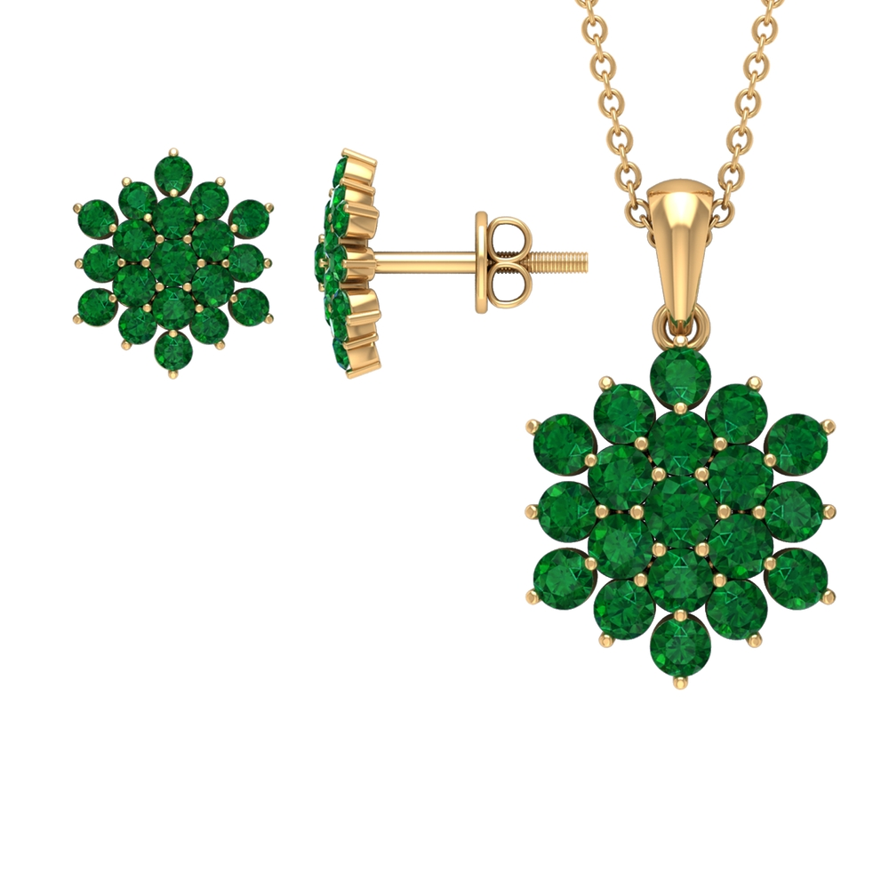 May Birthstone 2.25 CT Emerald Cluster Jewelry Set