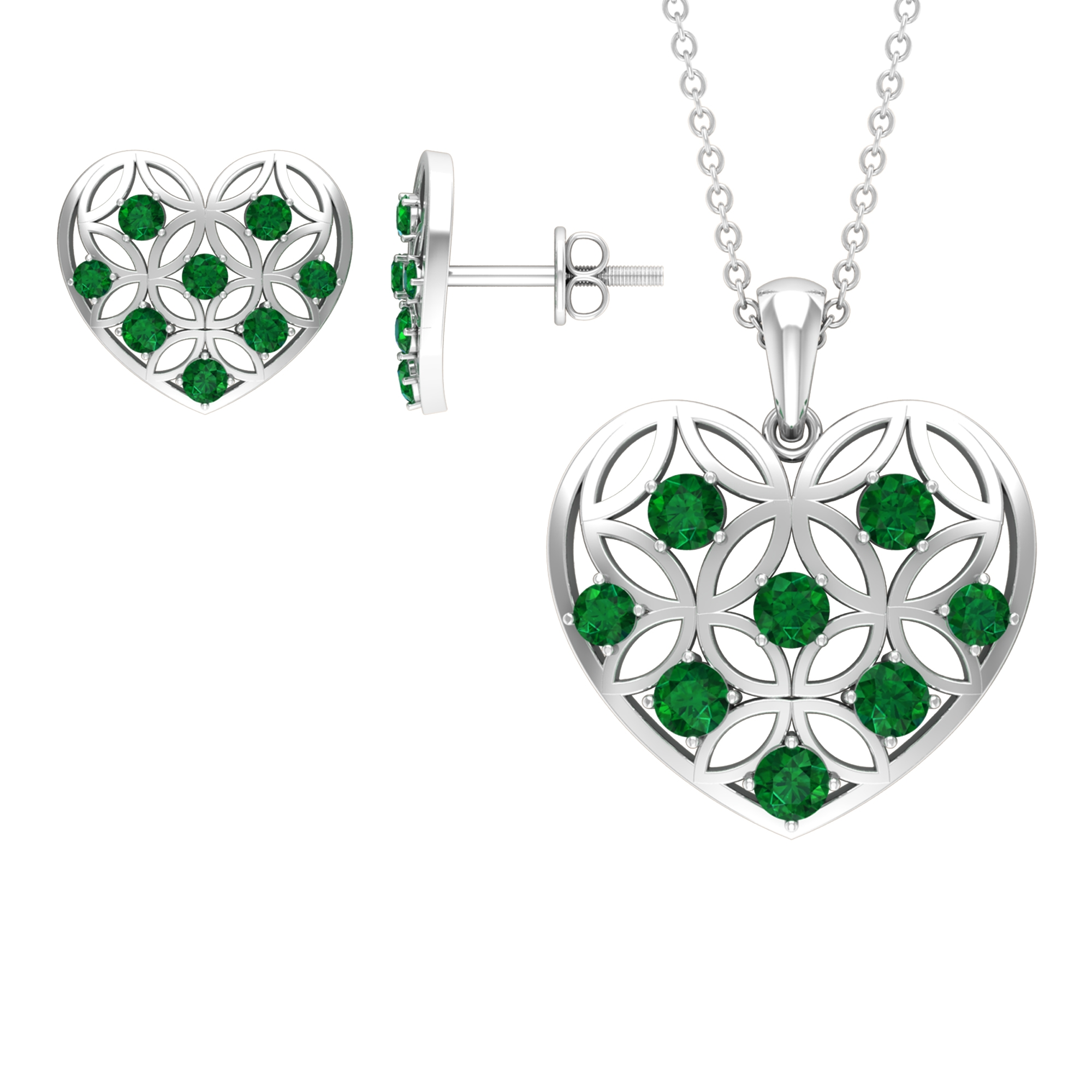 1 CT Emerald and Gold Cut Out Heart Jewelry Set