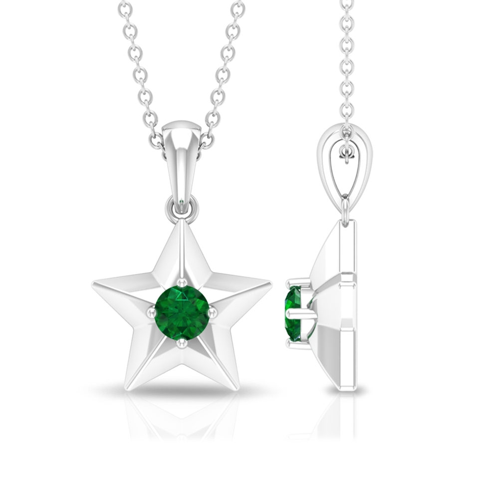 1/4 CT Round Cut Emerald and Gold Star Pendant Necklace for Women
