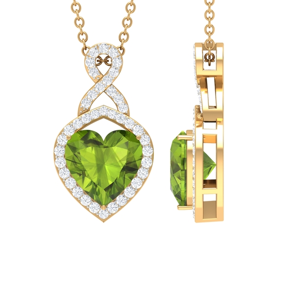2.25 CT Heart Shape Peridot Infinity Pendant Necklace with Diamond Accent
