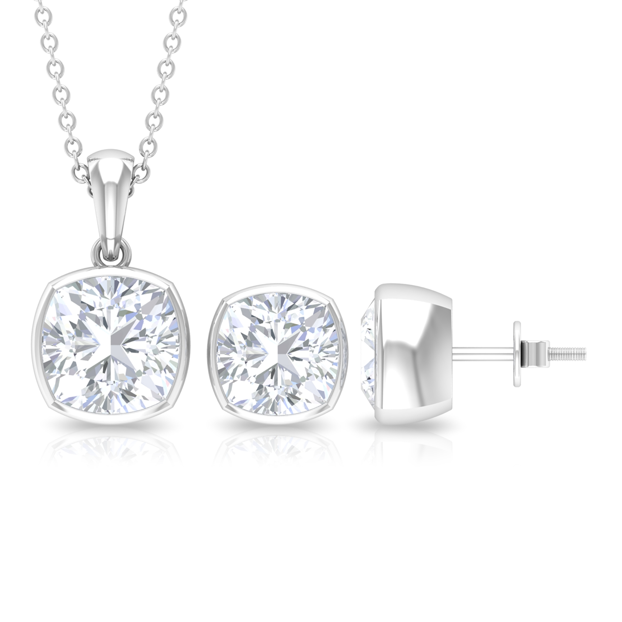 6.25 CT Cushion Cut Moissanite Solitaire Jewelry Set in Bezel Setting