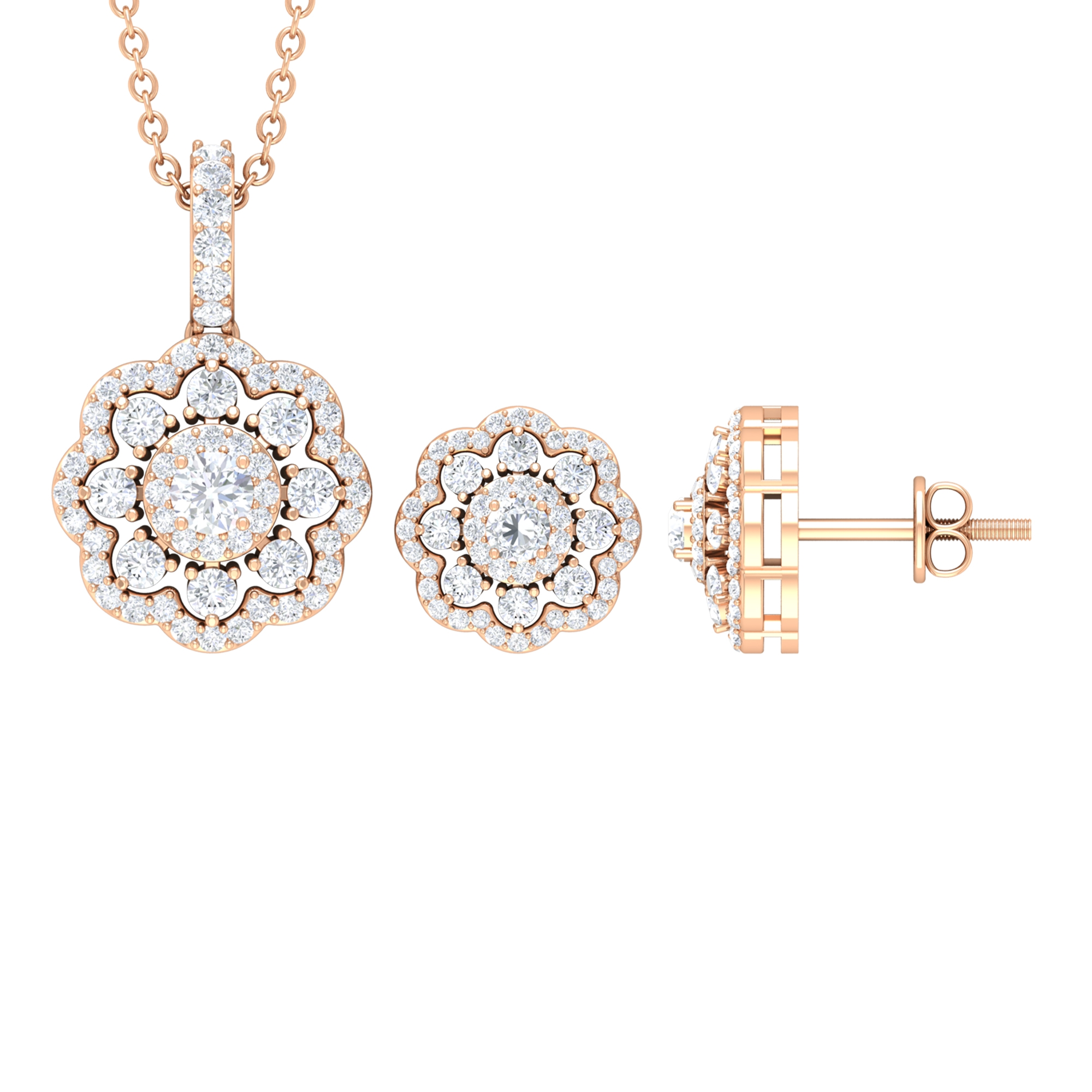 1.50 CT Moissanite Flower Jewelry Set with Halo