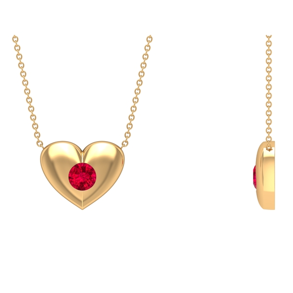 3/4 CT Ruby and Gold Heart Pendant Necklace